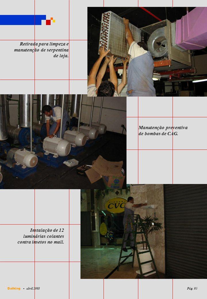 Retirada para limpeza e manutenção de serpentina de loja. Instalação de 12 luminárias colantes contra insetos no mall. Manutenção preventiva de bombas