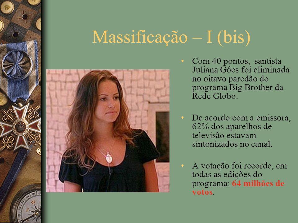 Massificação – I (bis) Com 40 pontos, santista Juliana Góes foi eliminada no oitavo paredão do programa Big Brother da Rede Globo.