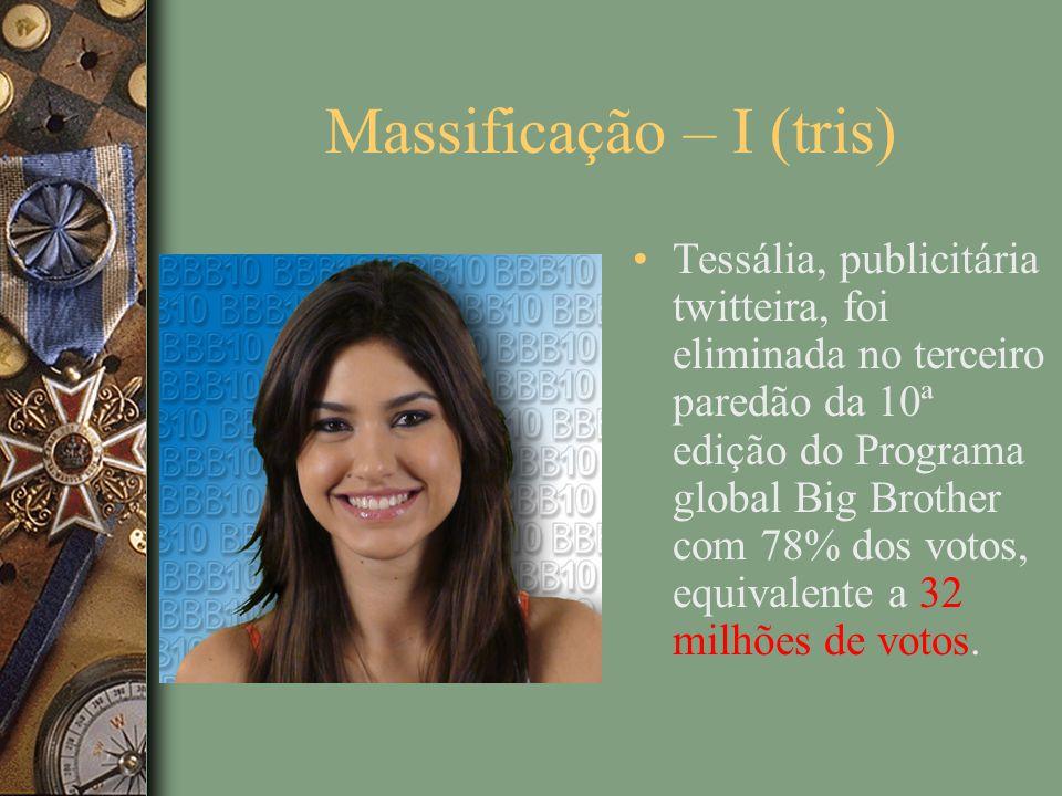 Massificação – I (tris) Tessália, publicitária twitteira, foi eliminada no terceiro paredão da 10ª edição do Programa global Big Brother com 78% dos votos, equivalente a 32 milhões de votos.