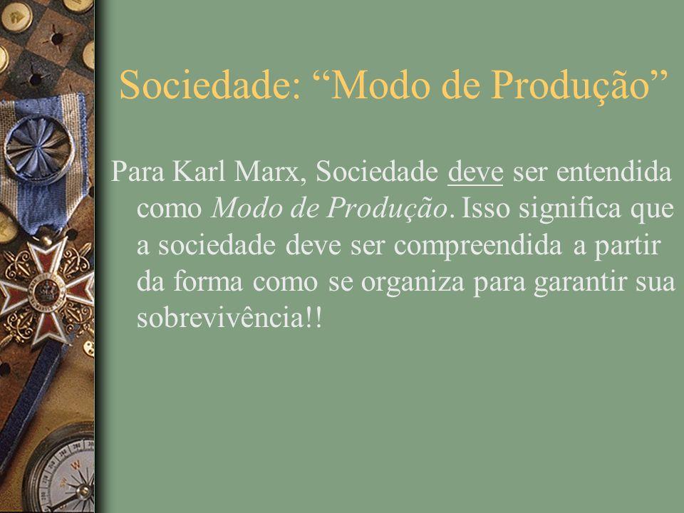 Sociedade: Modo de Produção Para Karl Marx, Sociedade deve ser entendida como Modo de Produção.