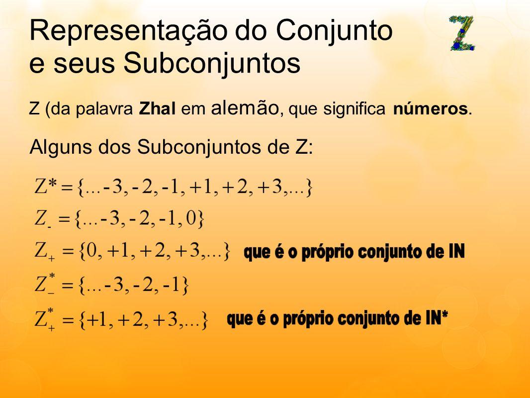 Representação do Conjunto e seus Subconjuntos Z (da palavra Zhal em alemão, que significa números. Alguns dos Subconjuntos de Z: