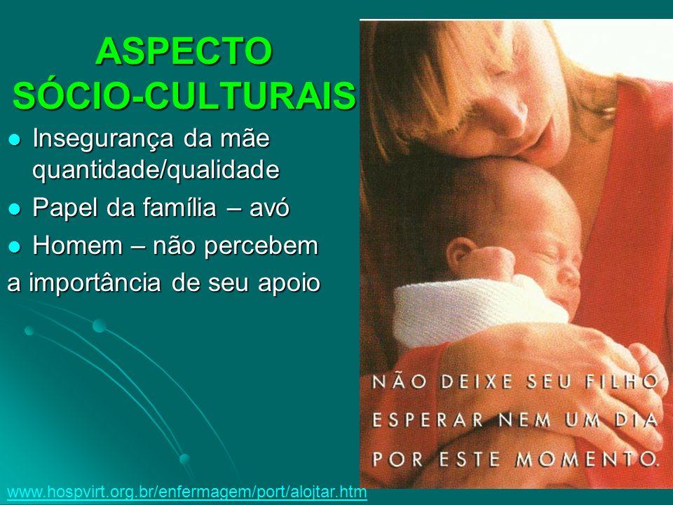 ASPECTO SÓCIO-CULTURAIS Insegurança da mãe quantidade/qualidade Insegurança da mãe quantidade/qualidade Papel da família – avó Papel da família – avó