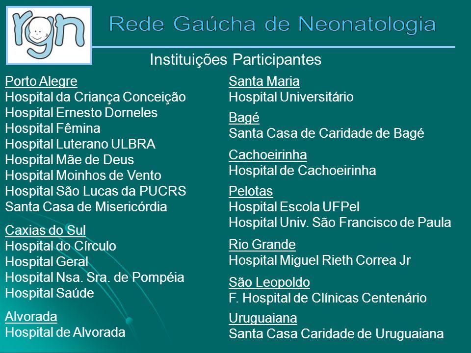 Instituições Participantes Porto Alegre Hospital da Criança Conceição Hospital Ernesto Dorneles Hospital Fêmina Hospital Luterano ULBRA Hospital Mãe d