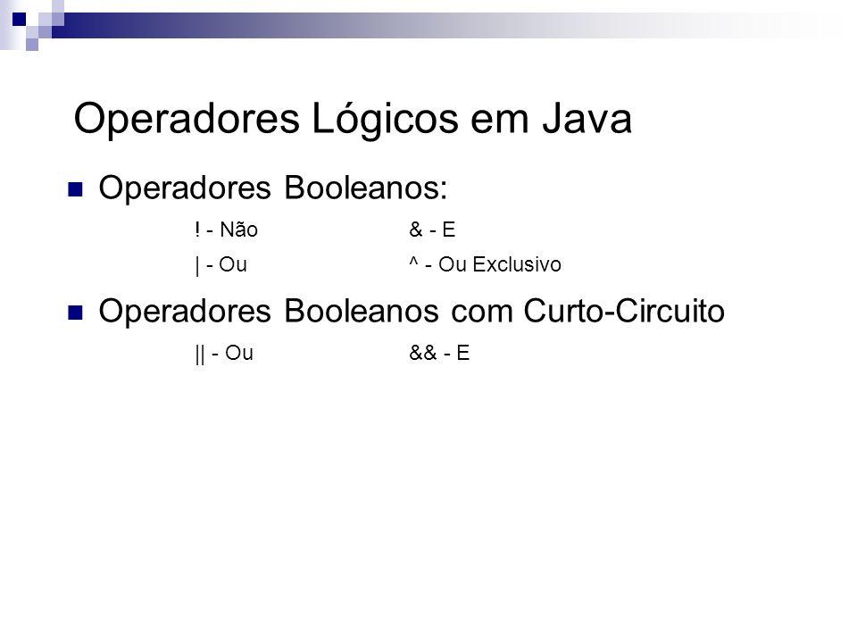 Operadores Lógicos em Java Operadores Booleanos: ! - Não& - E | - Ou^ - Ou Exclusivo Operadores Booleanos com Curto-Circuito || - Ou && - E