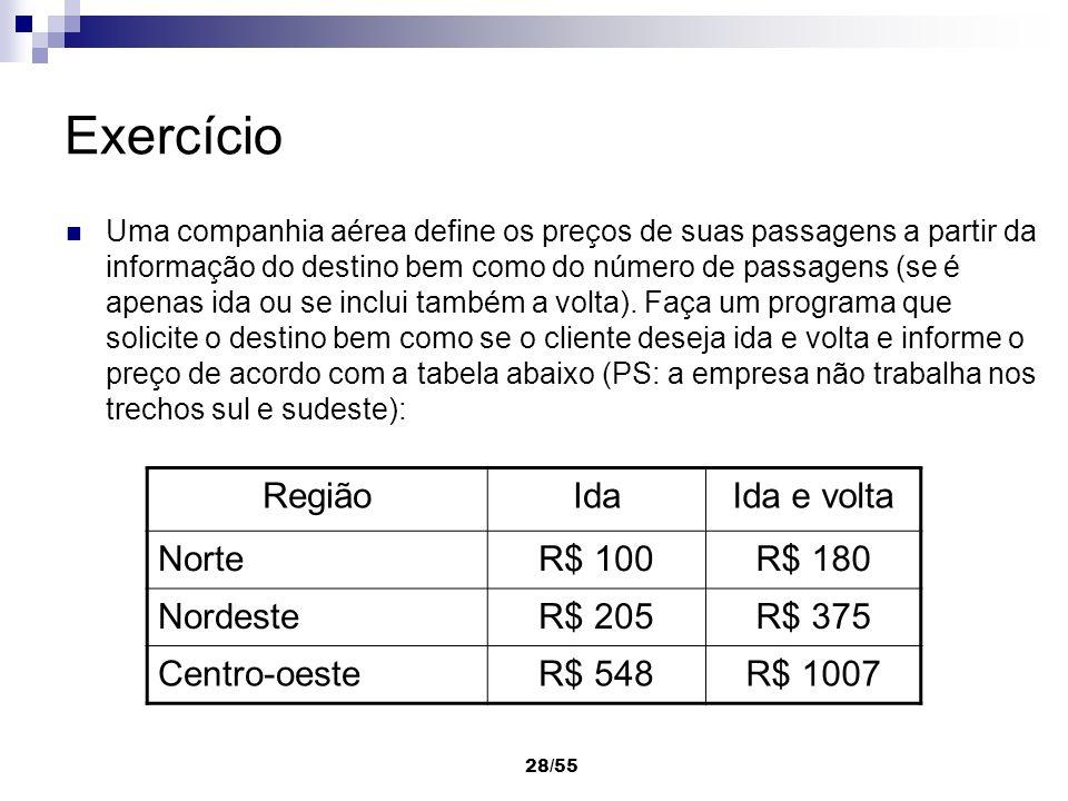 28/55 Exercício Uma companhia aérea define os preços de suas passagens a partir da informação do destino bem como do número de passagens (se é apenas