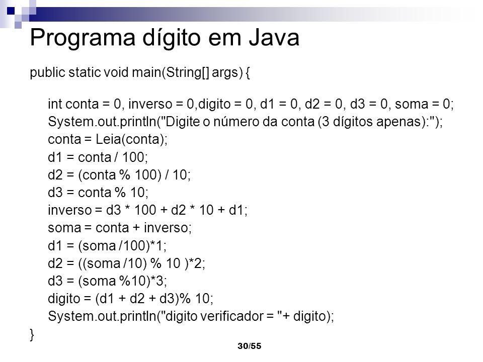 30/55 Programa dígito em Java public static void main(String[] args) { int conta = 0, inverso = 0,digito = 0, d1 = 0, d2 = 0, d3 = 0, soma = 0; System