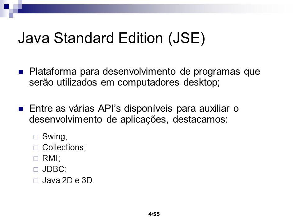 4/55 Java Standard Edition (JSE) Plataforma para desenvolvimento de programas que serão utilizados em computadores desktop; Entre as várias APIs dispo