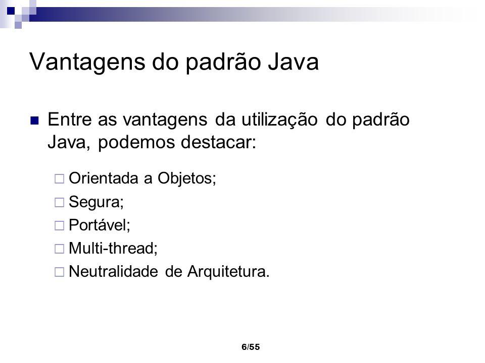 6/55 Vantagens do padrão Java Entre as vantagens da utilização do padrão Java, podemos destacar: Orientada a Objetos; Segura; Portável; Multi-thread;