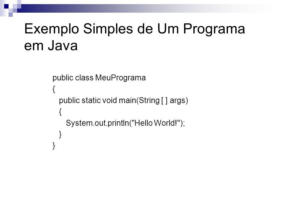 Exemplo Simples de Um Programa em Java public class MeuPrograma { public static void main(String [ ] args) { System.out.println(