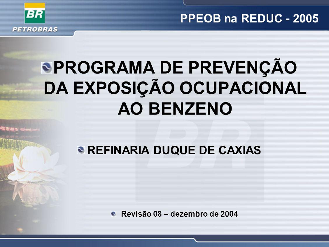 PPEOB na REDUC - 2005 PROGRAMA DE PREVENÇÃO DA EXPOSIÇÃO OCUPACIONAL AO BENZENO REFINARIA DUQUE DE CAXIAS Revisão 08 – dezembro de 2004