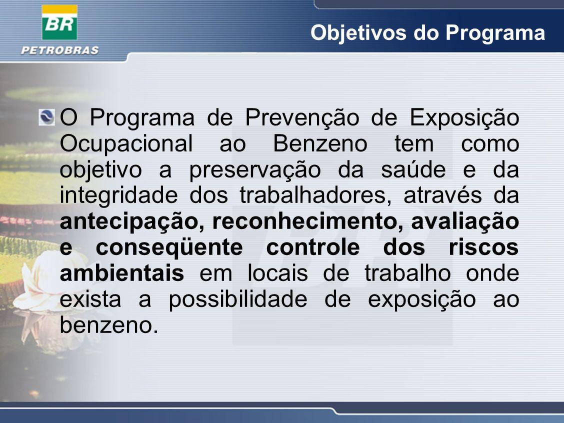Objetivos do Programa O Programa de Prevenção de Exposição Ocupacional ao Benzeno tem como objetivo a preservação da saúde e da integridade dos trabal