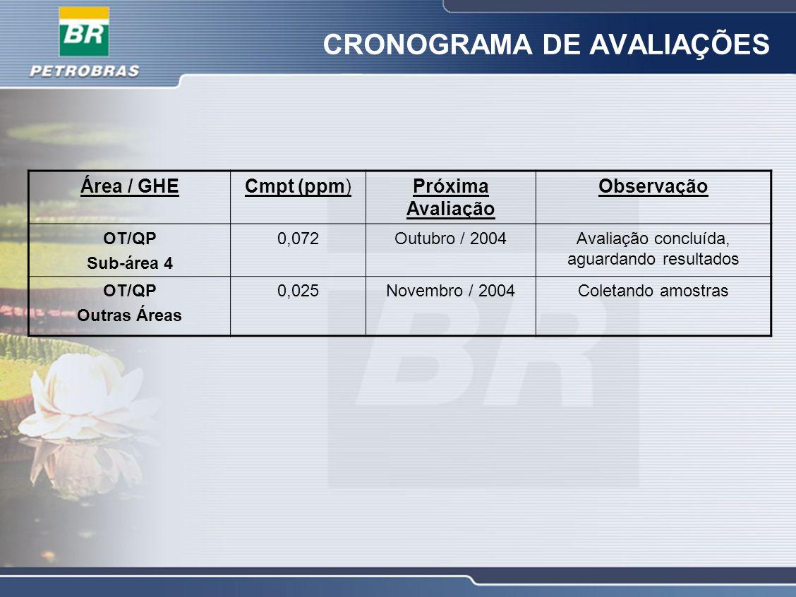 CRONOGRAMA DE AVALIAÇÕES Área / GHECmpt (ppm)Próxima Avaliação Observação OT/QP Sub-área 4 0,072Outubro / 2004Avaliação concluída, aguardando resultad