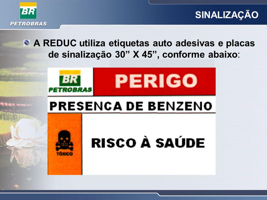 SINALIZAÇÃO A REDUC utiliza etiquetas auto adesivas e placas de sinalização 30 X 45, conforme abaixo: