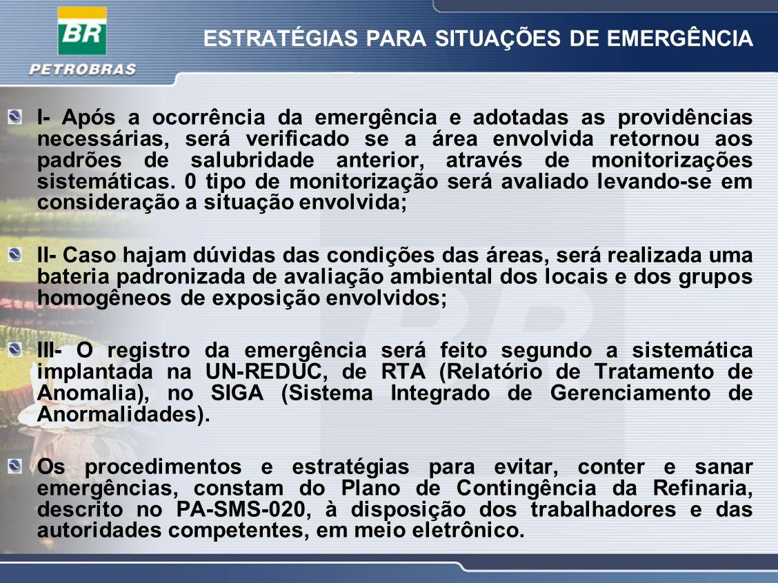ESTRATÉGIAS PARA SITUAÇÕES DE EMERGÊNCIA I- Após a ocorrência da emergência e adotadas as providências necessárias, será verificado se a área envolvid