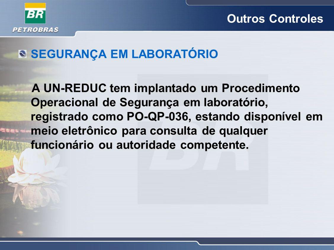 Outros Controles SEGURANÇA EM LABORATÓRIO A UN-REDUC tem implantado um Procedimento Operacional de Segurança em laboratório, registrado como PO-QP-036