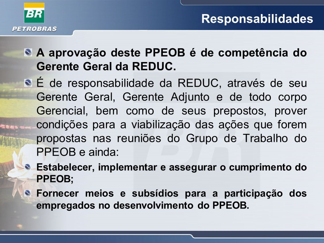 Responsabilidades A aprovação deste PPEOB é de competência do Gerente Geral da REDUC. É de responsabilidade da REDUC, através de seu Gerente Geral, Ge