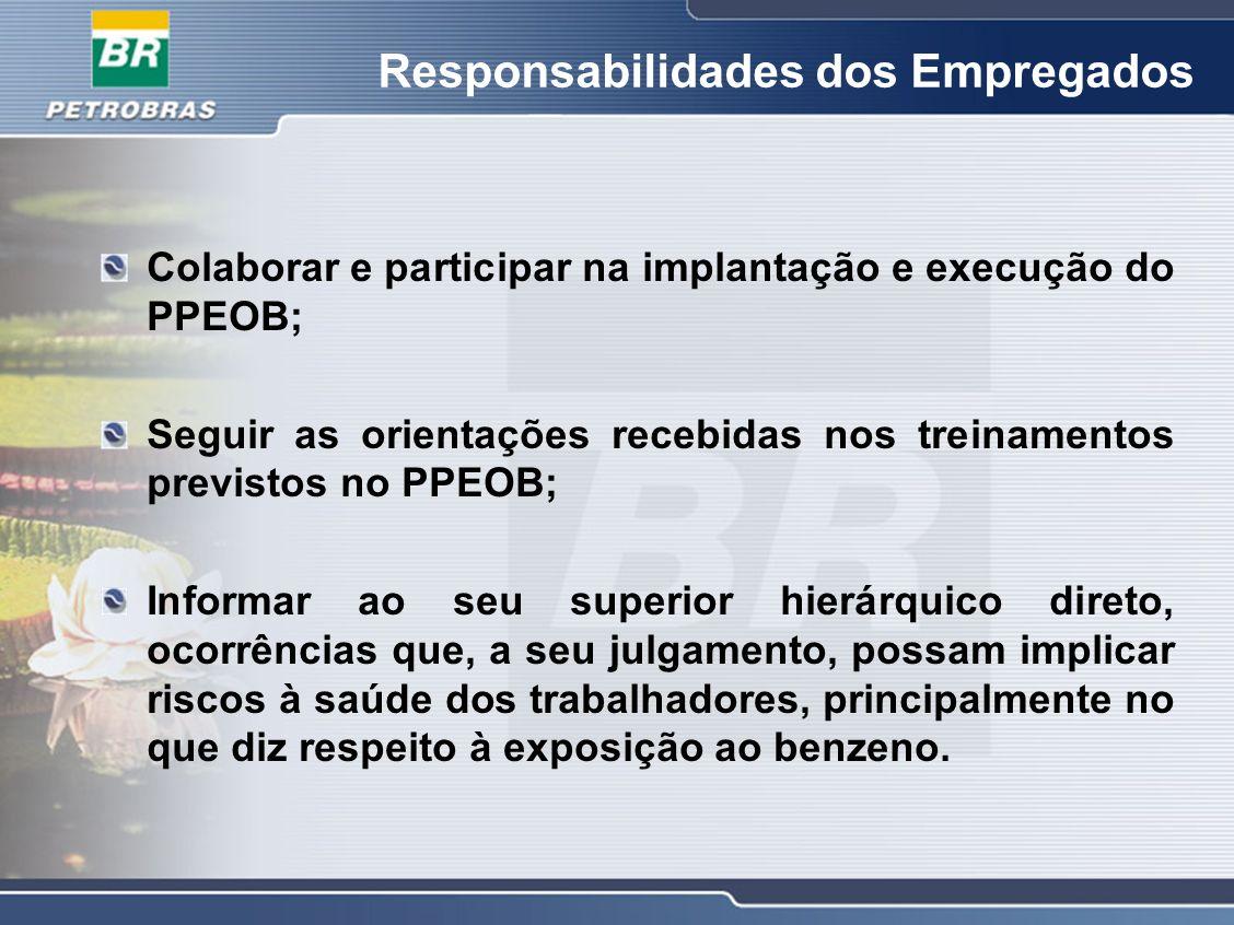 Responsabilidades dos Empregados Colaborar e participar na implantação e execução do PPEOB; Seguir as orientações recebidas nos treinamentos previstos