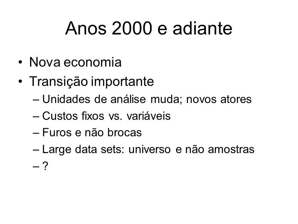Anos 2000 e adiante Nova economia Transição importante –Unidades de análise muda; novos atores –Custos fixos vs. variáveis –Furos e não brocas –Large