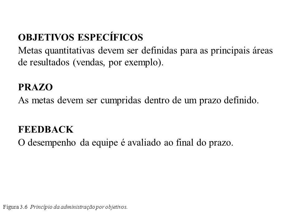 Figura 3.6 Princípio da administração por objetivos. OBJETIVOS ESPECÍFICOS Metas quantitativas devem ser definidas para as principais áreas de resulta