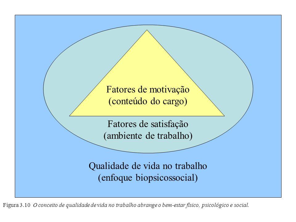 Qualidade de vida no trabalho (enfoque biopsicossocial) Figura 3.10 O conceito de qualidade de vida no trabalho abrange o bem-estar físico, psicológic