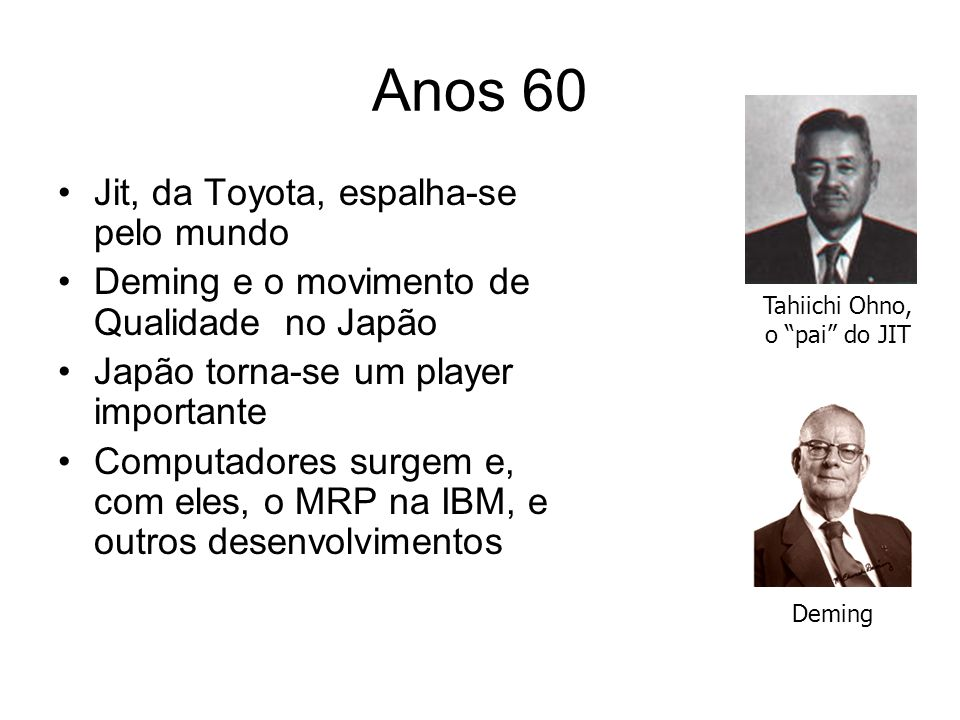 Anos 60 Jit, da Toyota, espalha-se pelo mundo Deming e o movimento de Qualidade no Japão Japão torna-se um player importante Computadores surgem e, com eles, o MRP na IBM, e outros desenvolvimentos Tahiichi Ohno, o pai do JIT Deming