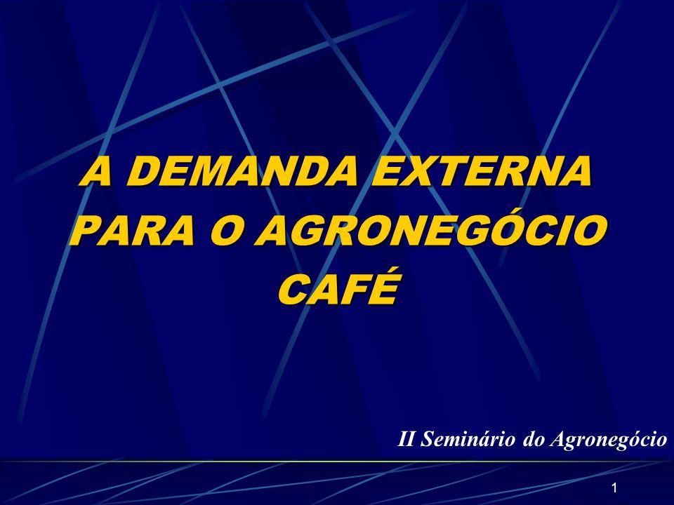 2 Café no Mundo 60 países produtores 100 milhões de pessoas envolvidas Receitas da exportação do grão verde = U$ 10 bi/ano Receitas do Agronegócio = U$ 50 bi/ano Maior País consumidor = EUA (18 milhões/sacas) Maior Região consumidora = Europa (34 milhões/sacas) Produção Mundial = 110 milhões/sacas.ano