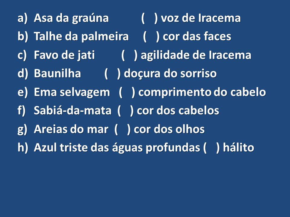 a)Asa da graúna ( ) voz de Iracema b)Talhe da palmeira ( ) cor das faces c)Favo de jati ( ) agilidade de Iracema d)Baunilha ( ) doçura do sorriso e)Em