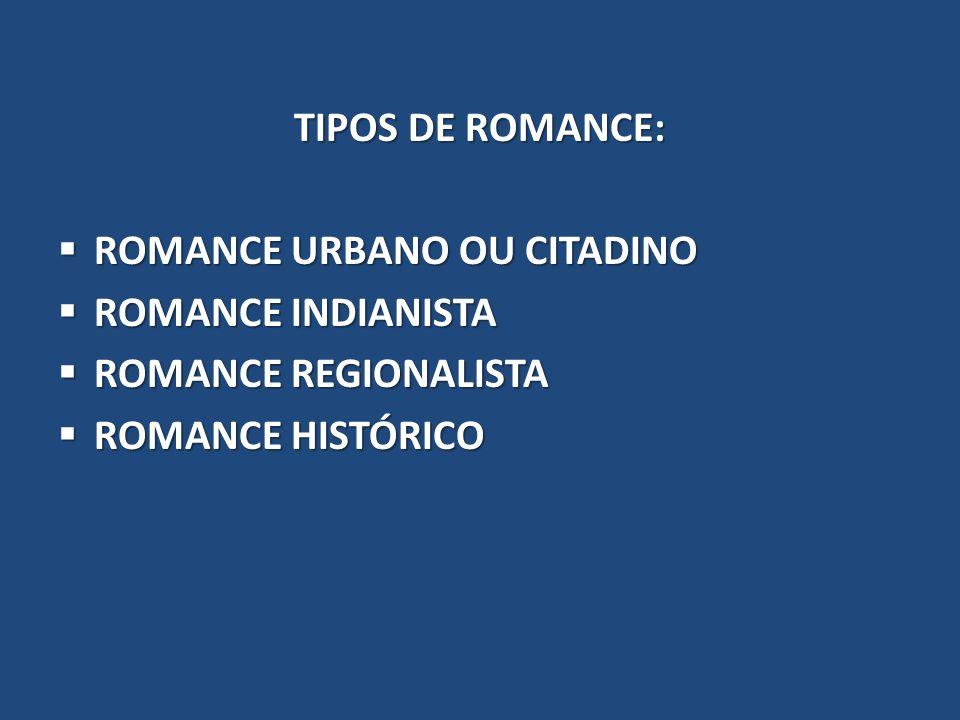 TIPOS DE ROMANCE: ROMANCE URBANO OU CITADINO ROMANCE URBANO OU CITADINO ROMANCE INDIANISTA ROMANCE INDIANISTA ROMANCE REGIONALISTA ROMANCE REGIONALIST
