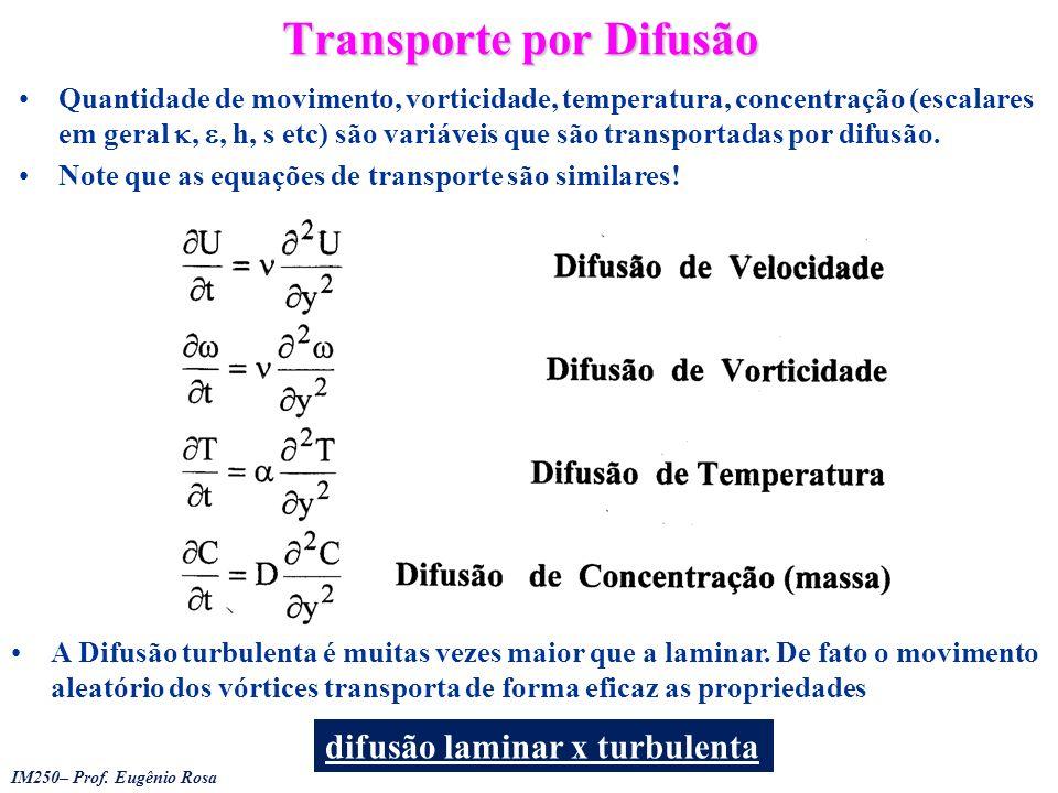 IM250– Prof. Eugênio Rosa Transporte por Difusão Quantidade de movimento, vorticidade, temperatura, concentração (escalares em geral,, h, s etc) são v