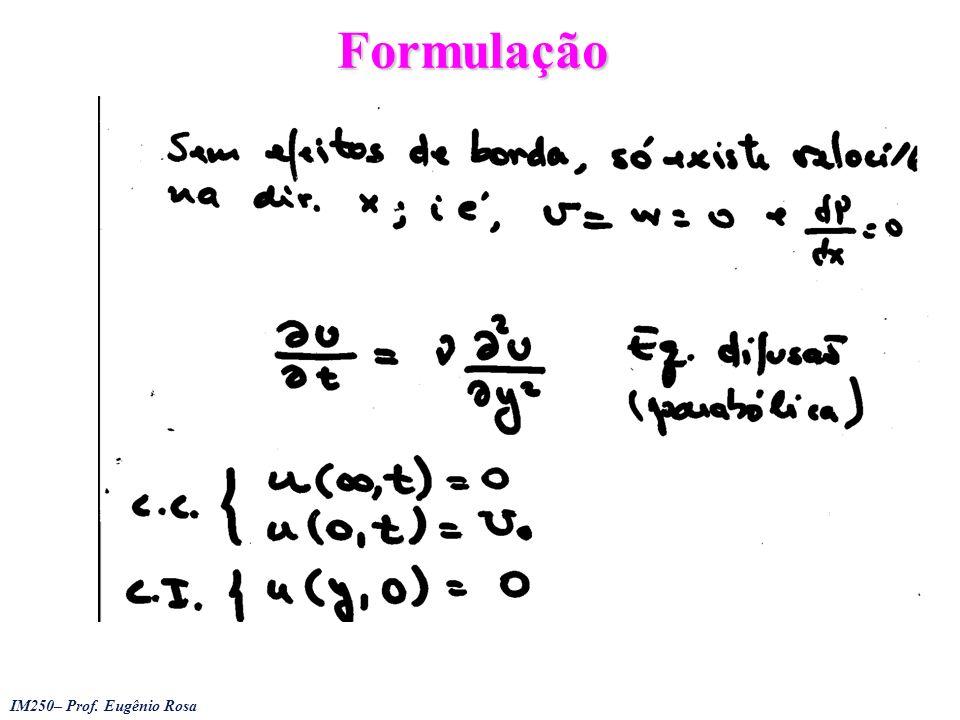 IM250– Prof.Eugênio Rosa Hiemenz Problem Procura-se solução em termos de, satisfaz massa, uma eq.
