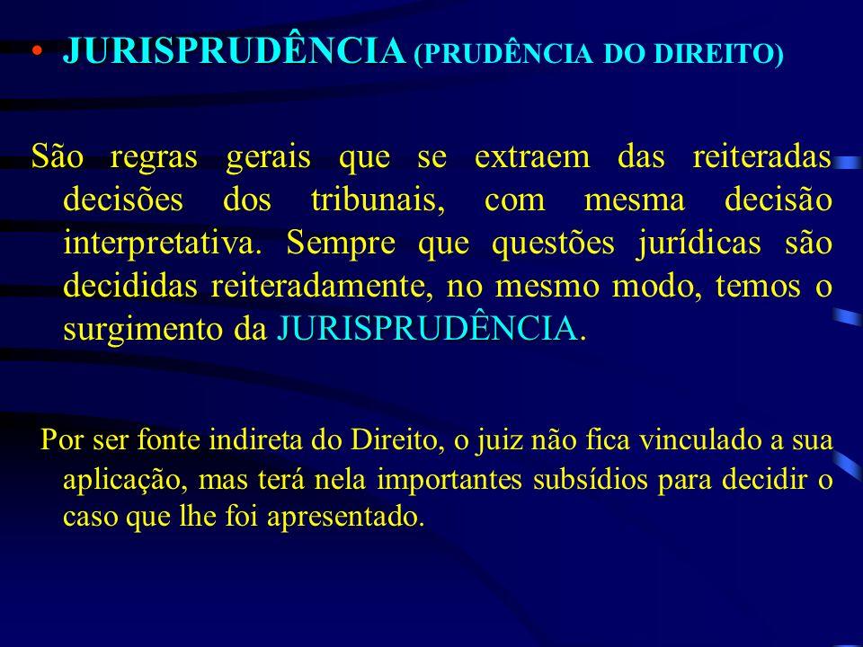 JURISPRUDÊNCIA (JURISPRUDÊNCIA (PRUDÊNCIA DO DIREITO) JURISPRUDÊNCIA São regras gerais que se extraem das reiteradas decisões dos tribunais, com mesma