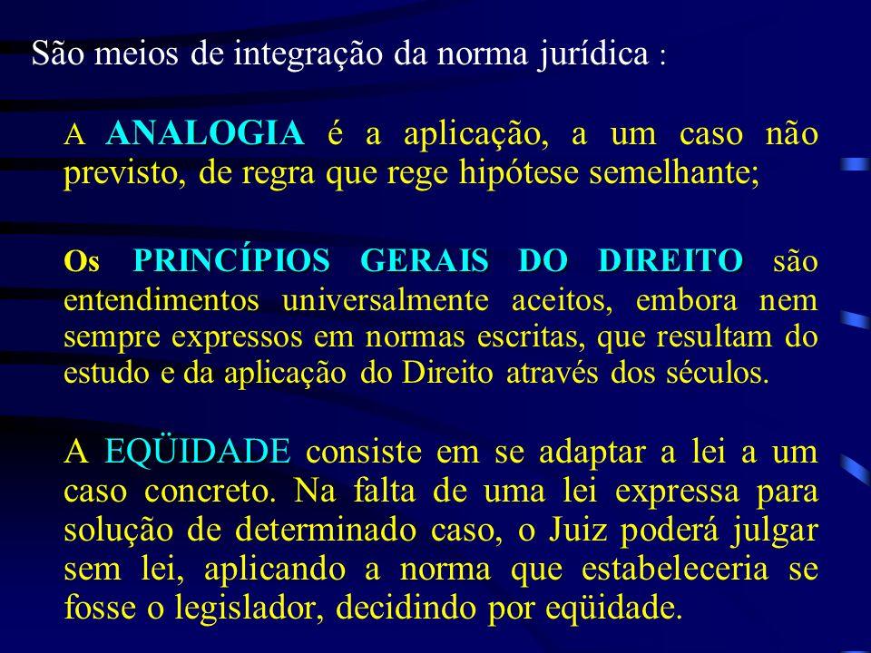 São meios de integração da norma jurídica : ANALOGIA A ANALOGIA é a aplicação, a um caso não previsto, de regra que rege hipótese semelhante; PRINCÍPI