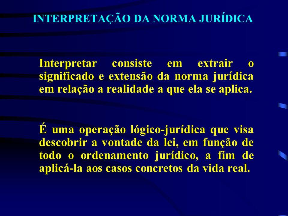 INTERPRETAÇÃO DA NORMA JURÍDICA Interpretar consiste em extrair o significado e extensão da norma jurídica em relação a realidade a que ela se aplica.