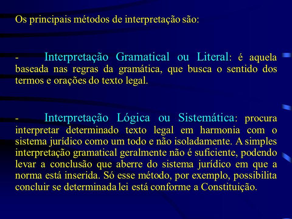 Os principais métodos de interpretação são: Interpretação Gramatical ou Literal - Interpretação Gramatical ou Literal : é aquela baseada nas regras da