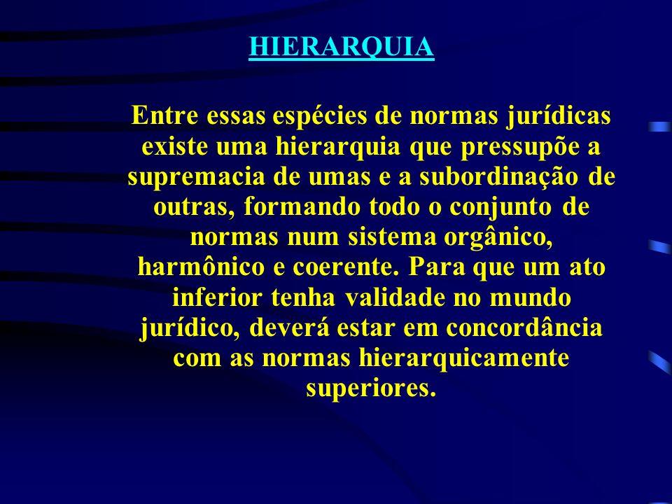 HIERARQUIA Entre essas espécies de normas jurídicas existe uma hierarquia que pressupõe a supremacia de umas e a subordinação de outras, formando todo