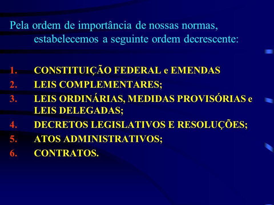Pela ordem de importância de nossas normas, estabelecemos a seguinte ordem decrescente: 1.CONSTITUIÇÃO FEDERAL e EMENDAS 2.LEIS COMPLEMENTARES; 3.LEIS
