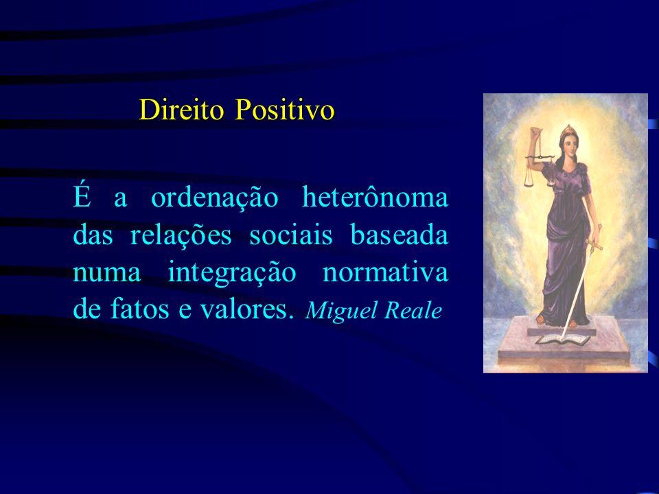 Direito Positivo É a ordenação heterônoma das relações sociais baseada numa integração normativa de fatos e valores. Miguel Reale