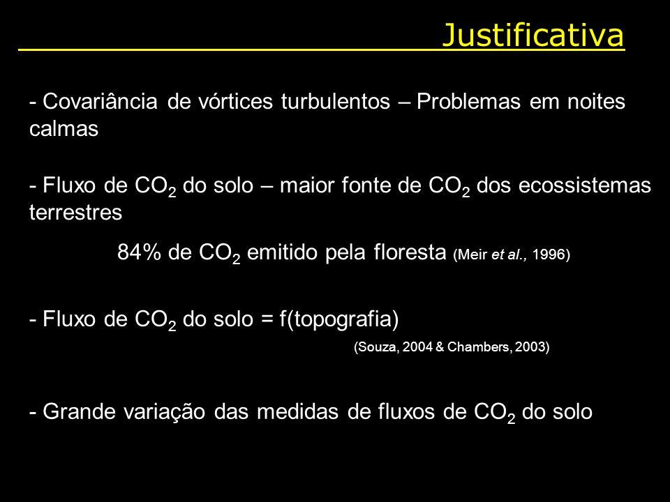 Justificativa - Covariância de vórtices turbulentos – Problemas em noites calmas - Fluxo de CO 2 do solo – maior fonte de CO 2 dos ecossistemas terres