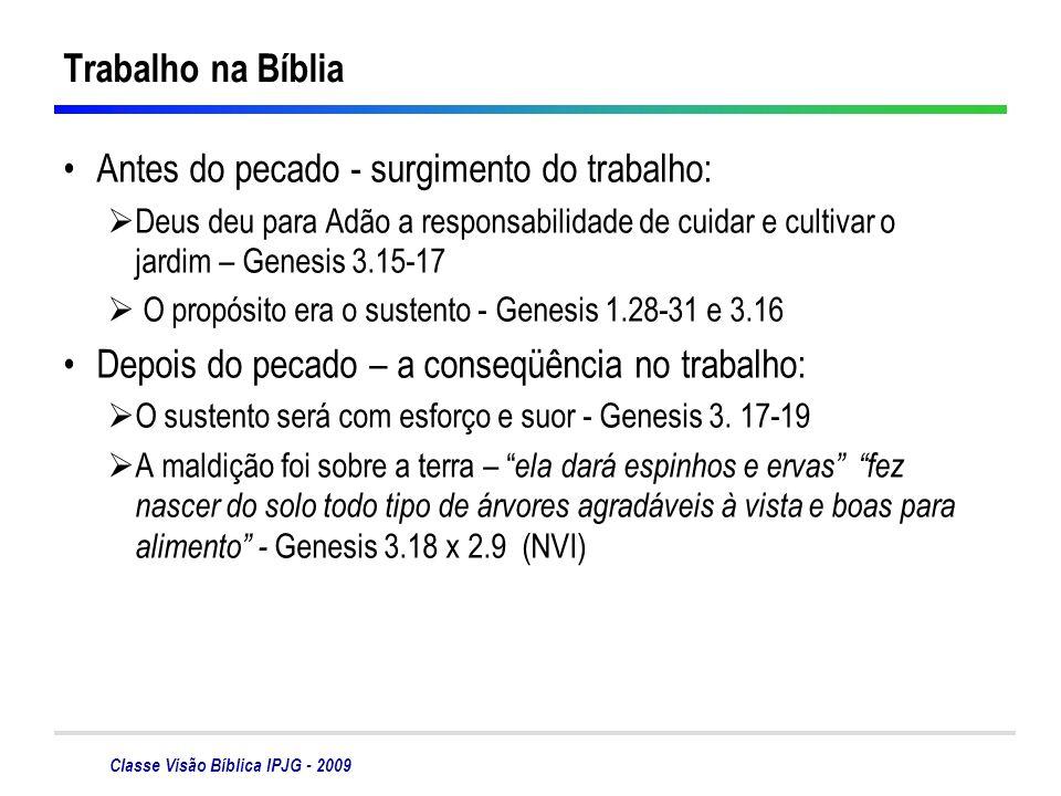 Classe Visão Bíblica IPJG - 2009 Trabalho na Bíblia Antes do pecado - surgimento do trabalho: Deus deu para Adão a responsabilidade de cuidar e cultiv