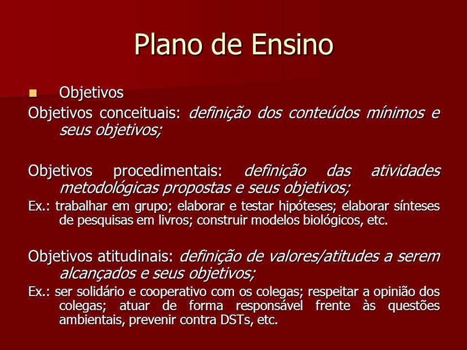 Plano de Ensino Objetivos Objetivos Objetivos conceituais: definição dos conteúdos mínimos e seus objetivos; Objetivos procedimentais: definição das a