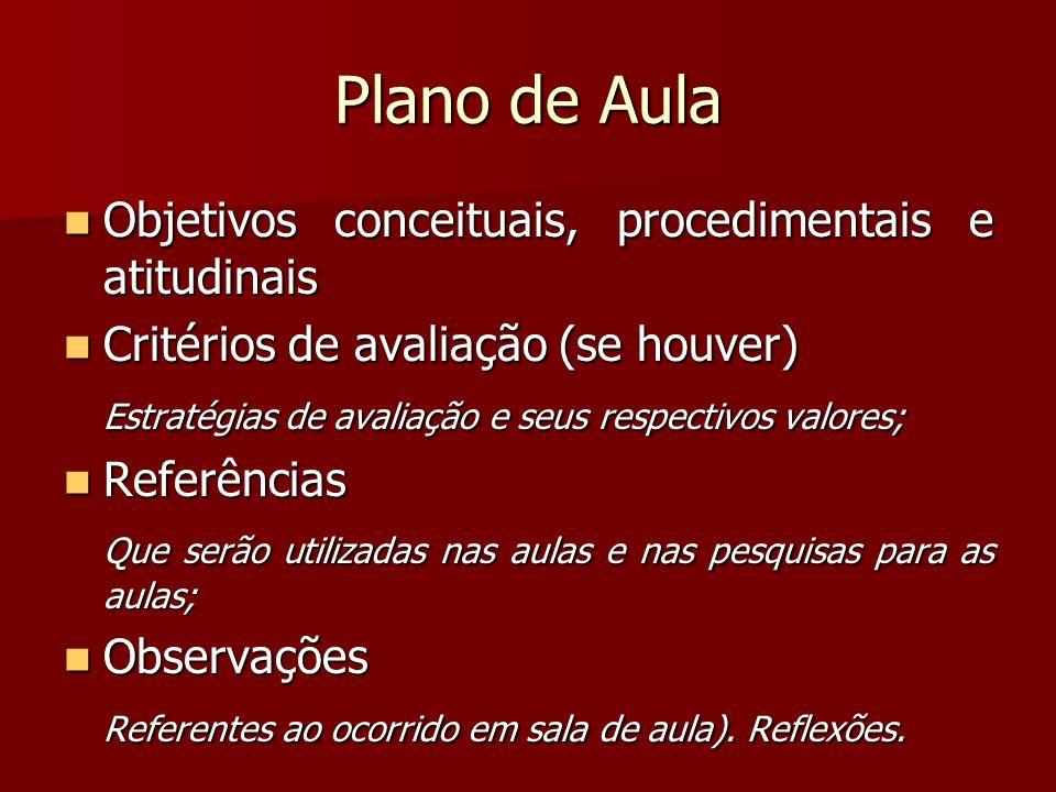 Plano de Aula Objetivos conceituais, procedimentais e atitudinais Objetivos conceituais, procedimentais e atitudinais Critérios de avaliação (se houve