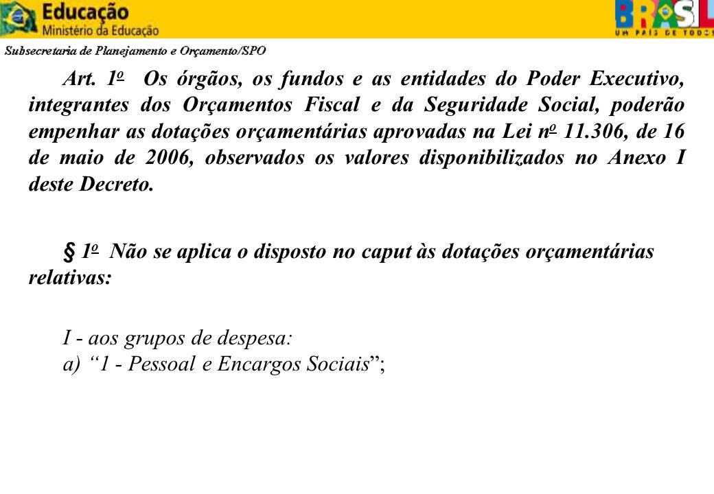 Art. 1 o Os órgãos, os fundos e as entidades do Poder Executivo, integrantes dos Orçamentos Fiscal e da Seguridade Social, poderão empenhar as dotaçõe