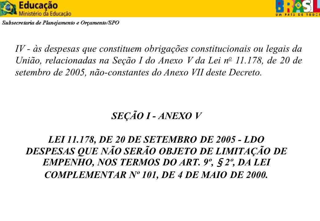 SEÇÃO I - ANEXO V LEI 11.178, DE 20 DE SETEMBRO DE 2005 - LDO DESPESAS QUE NÃO SERÃO OBJETO DE LIMITAÇÃO DE EMPENHO, NOS TERMOS DO ART. 9º, § 2º, DA L