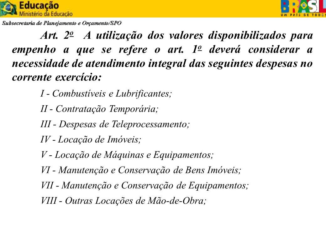 Art. 2 o A utilização dos valores disponibilizados para empenho a que se refere o art. 1 o deverá considerar a necessidade de atendimento integral das