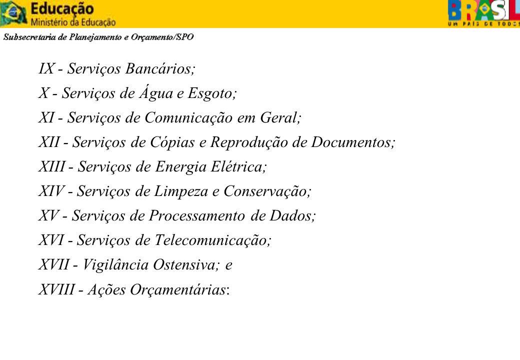 IX - Serviços Bancários; X - Serviços de Água e Esgoto; XI - Serviços de Comunicação em Geral; XII - Serviços de Cópias e Reprodução de Documentos; XI