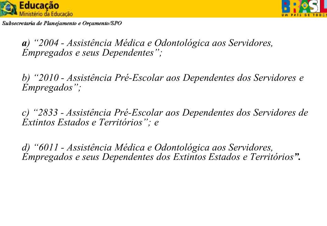 a) 2004 - Assistência Médica e Odontológica aos Servidores, Empregados e seus Dependentes; b) 2010 - Assistência Pré-Escolar aos Dependentes dos Servi