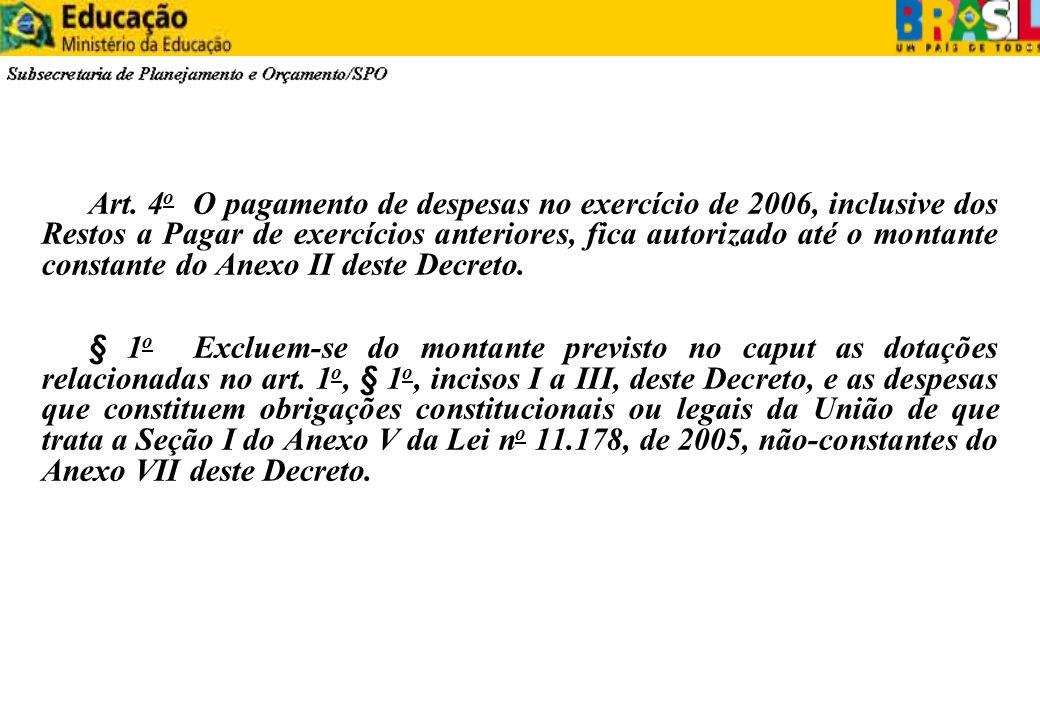 Art. 4 o O pagamento de despesas no exercício de 2006, inclusive dos Restos a Pagar de exercícios anteriores, fica autorizado até o montante constante