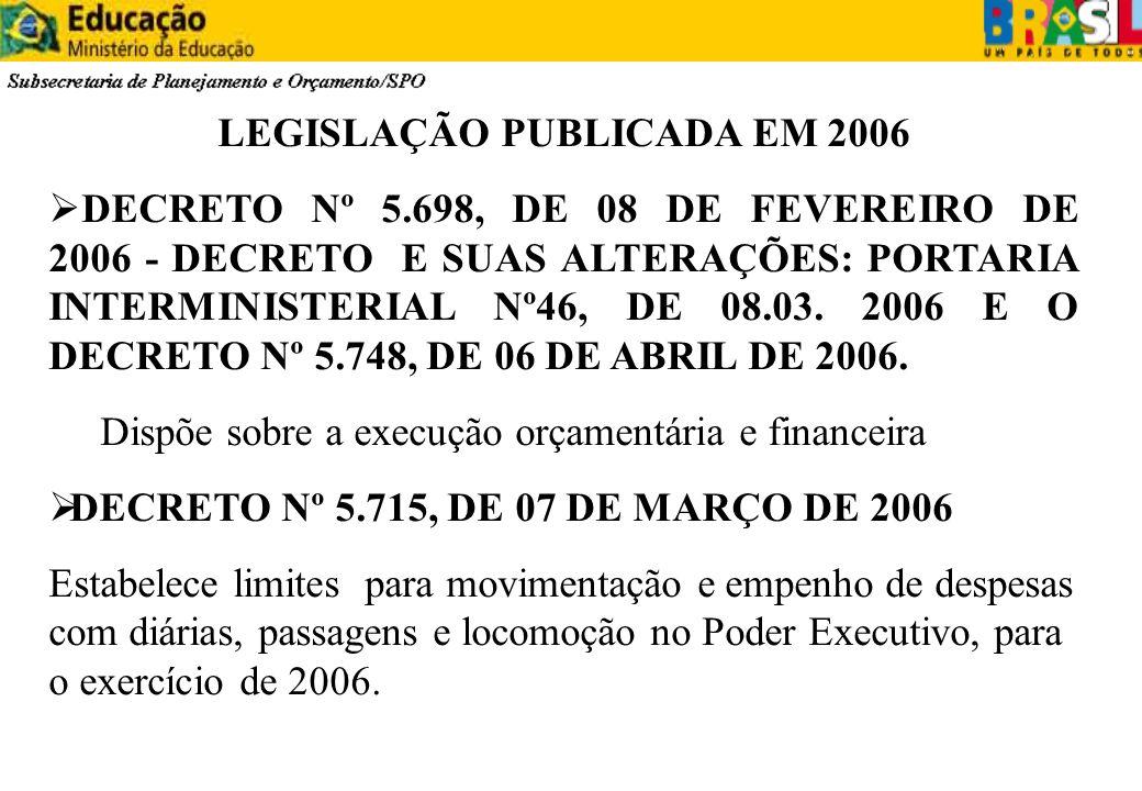 LEGISLAÇÃO PUBLICADA EM 2006 DECRETO Nº 5.698, DE 08 DE FEVEREIRO DE 2006 - DECRETO E SUAS ALTERAÇÕES: PORTARIA INTERMINISTERIAL Nº46, DE 08.03. 2006