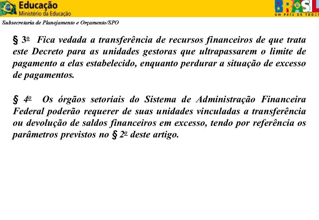 § 3 o Fica vedada a transferência de recursos financeiros de que trata este Decreto para as unidades gestoras que ultrapassarem o limite de pagamento