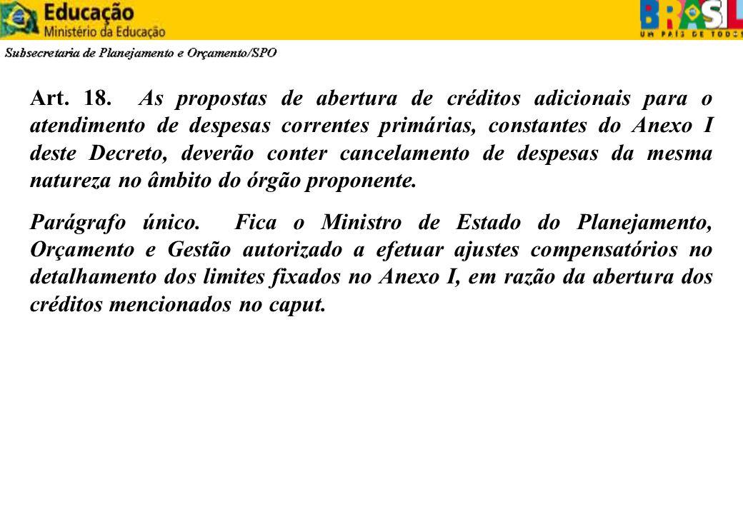 Art. 18. As propostas de abertura de créditos adicionais para o atendimento de despesas correntes primárias, constantes do Anexo I deste Decreto, deve